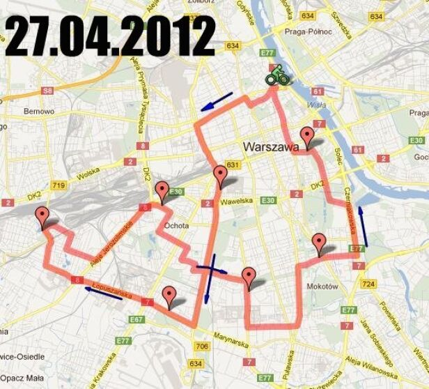 Mapa trasy przejazdu materiały organizatora