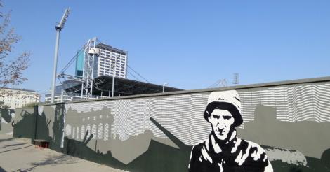 Powsta czy mural wr ci na cian stadionu polonii for Mural ursynow