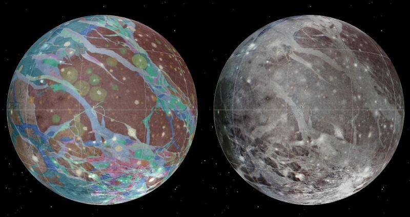 Mozaika i mapy geologiczne księżyca Jowisza Ganimedesa (USGS Astrogeology Science Center/Wheaton/NASA/JPL-Caltech)