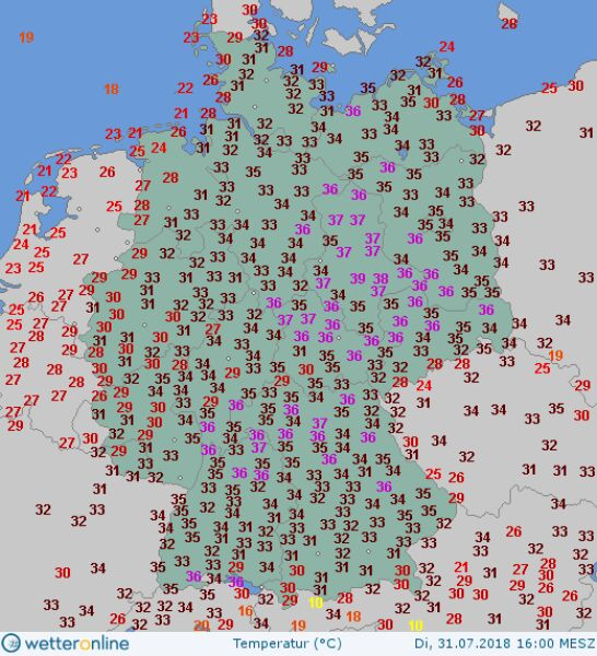 Temperatura maksymalna w Niemczech 31 lipca 2018 roku (wetteronline.de)