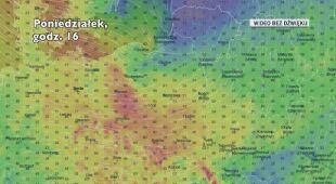 Prognozowana prędkość porywów wiatru w ciągu najbliższych kilkudziesięciu godzin (Ventusky.com)
